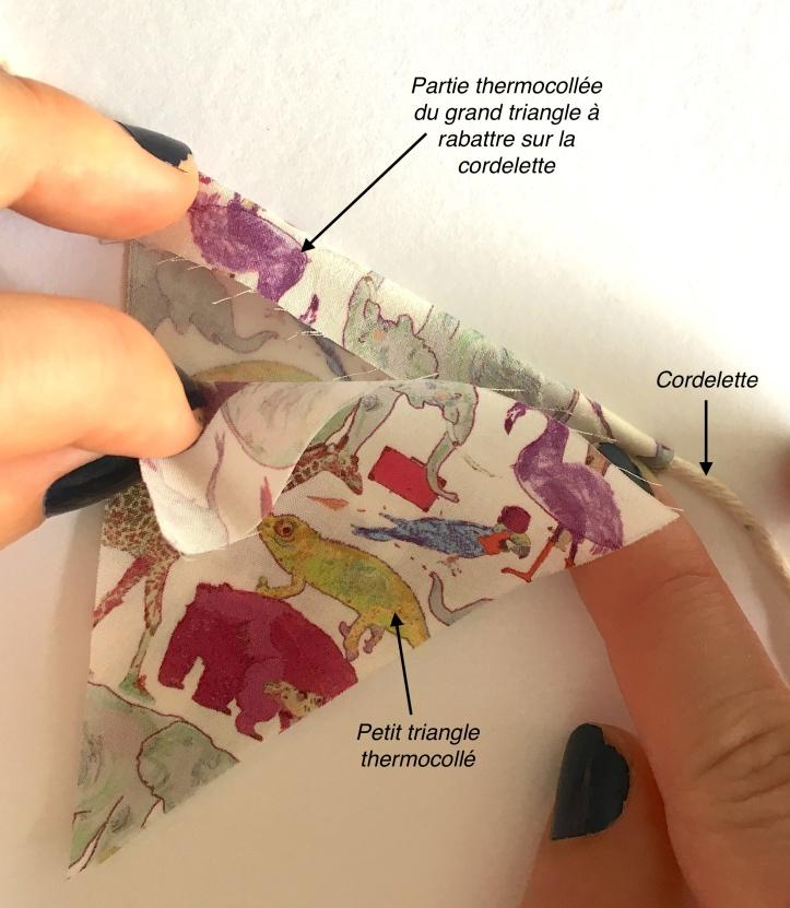 Montage du fanion avec tissu à motif placé